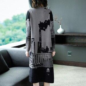 Image 2 - Vestido tejido de manga larga para mujer, Jersey Vintage, cuello redondo, M, L, XL, XXL, alta calidad, novedad de 2019