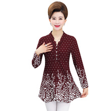 цена на Mature Women Peplum Blouses Floral Print Top Spring Autumn Tunic Woman Red Navy Blue Blouse Mother Casual Top Long Sleeve Tunic