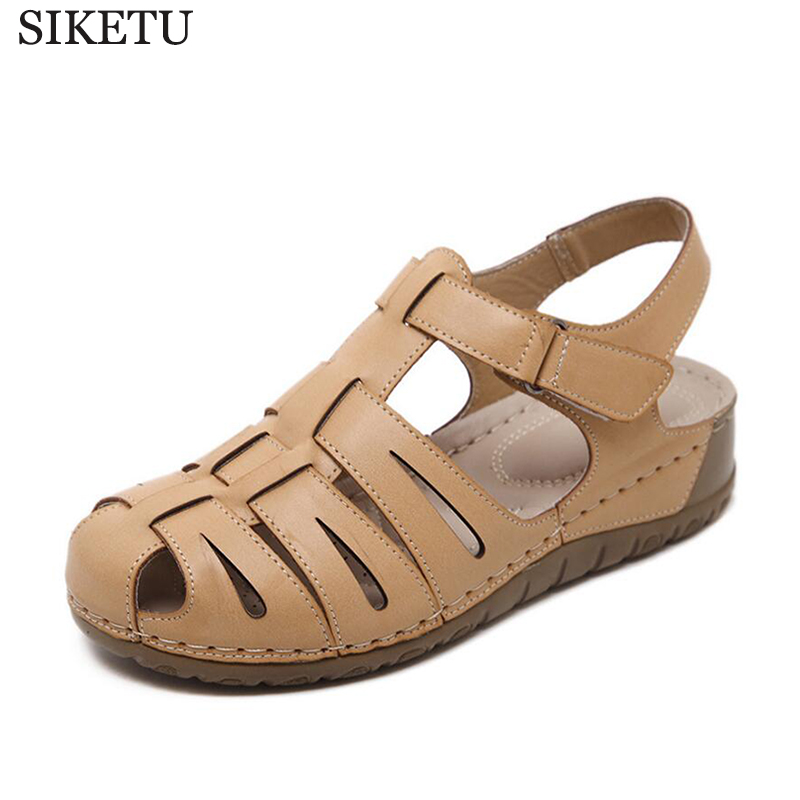 SIKETU Women Summer Sandals Closed Toe Women Casual Shoes Soft Comfortable Pu Leather Handmade sandalias mujer k209 children shoes flock soft leather sandals closed toe sandals solid kids girls princess dance party shoes female beach shoes