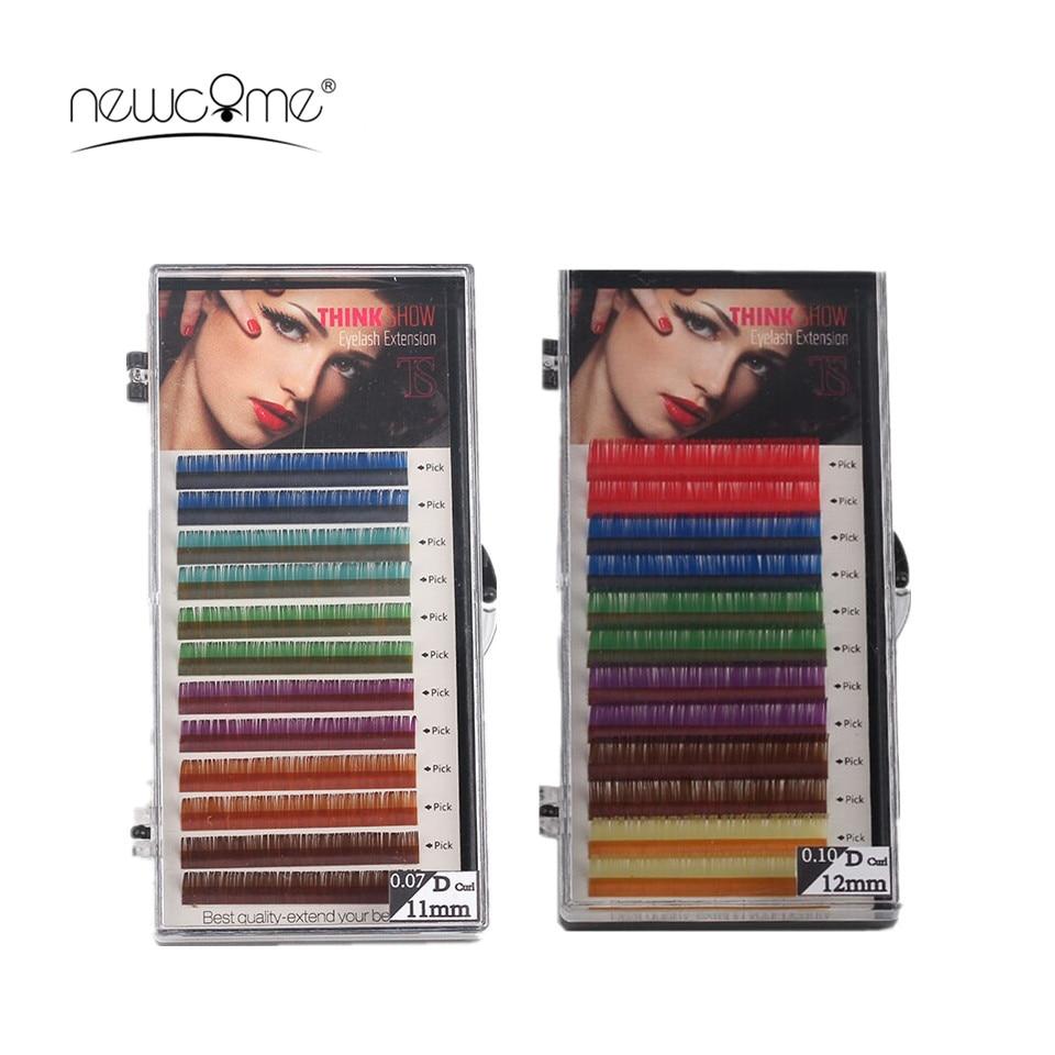 Extensions de cils colorés naturels de maquillage 6 couleurs prolongements de cils longs d'oeil de soie de Cilios 0.07 / 0.10mm d'épaisseur