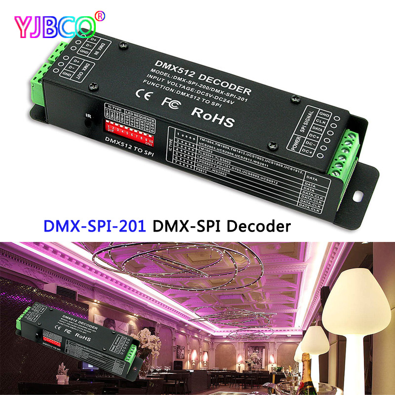 led DMX-SPI Decoder;DMX-SPI-201;DMX 512 digital Signal to SPI(TTL) Signal for LPD6803 WS2801 2812 WS2811 IC Pixel strip цена