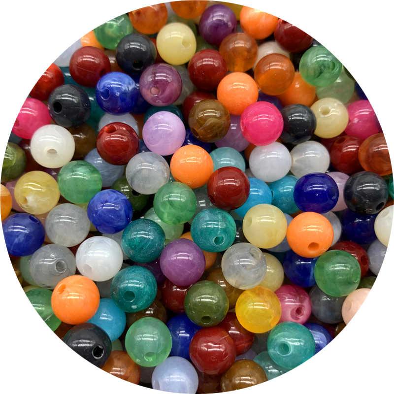 Cuentas espaciadoras de acrílico de 6mm, 8mm, 10mm, cuentas redondas sueltas para hacer joyería