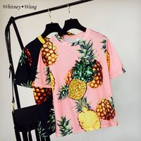 WHITNEY WANG Newest 2017 Summer Fashion Korean Style Pineapple Print Sequins T Shirt Women Casual Tee