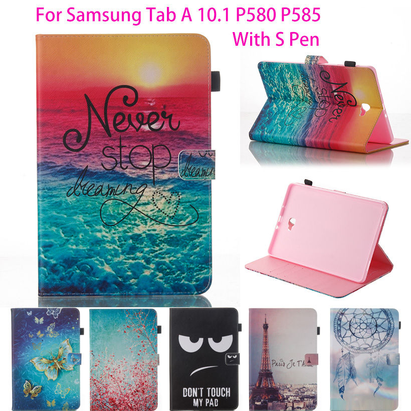 High Quality Flip PU Leather Case For Samsung Galaxy Tab A A6 10.1 2016 P580 P585 Cover Case Fashion Painted Tablet Shell Funda tiger owl girls painted flip silicone leather case for samsung galaxy tab 4 8 0 t330 t331 t335 case cover tablet funda shell