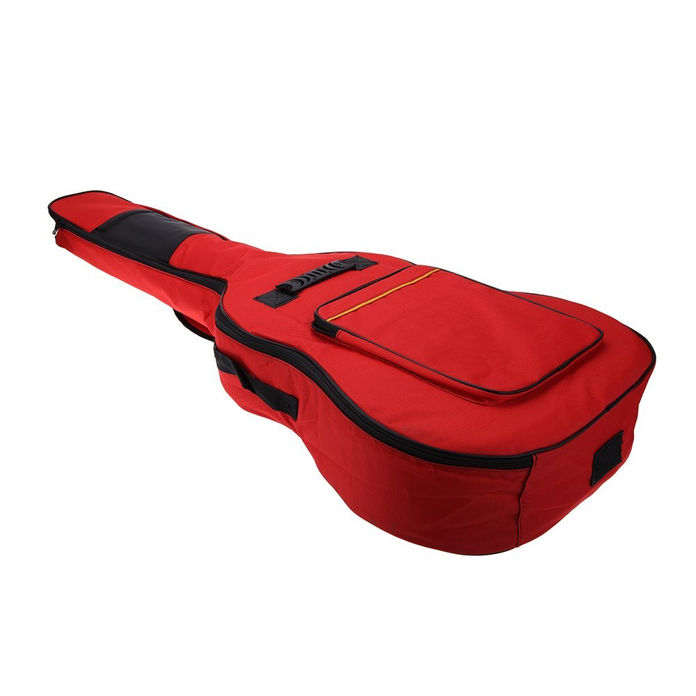 2 PCS of (41 Guitar Backpack Shoulder Straps Pockets 5mm Cotton Padded Gig Bag Case red) 40 41inch acoustic classical guitar bag case backpack adjustable shoulder strap portable 4mm thicken padded black