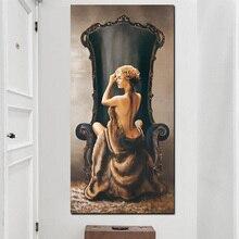 Lienzo de pared con impresión HD, arte Pop, Vintage, grande, Sexy, para mujer en silla, figura al óleo, pintura de chica desnuda, Imagen corporal para decoración para sala de estar
