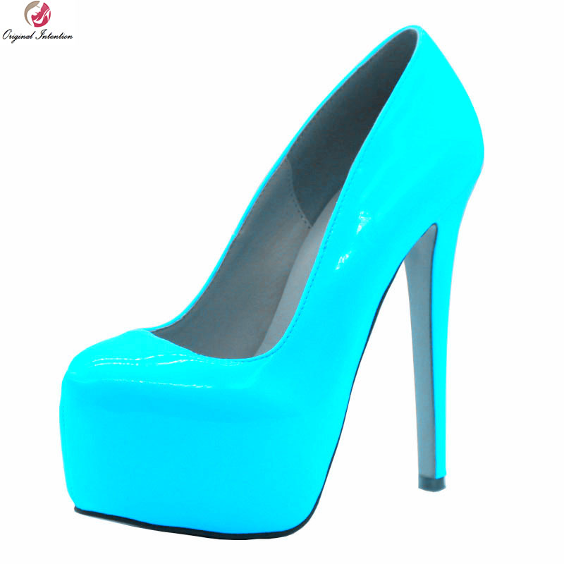 Original Intention New Stylish Women Pumps Platform Round Toe Thin High Heels Pumps Fashion Blue Shoes Woman Plus US Size 4-10.5 usb laser handheld barcode scanner reader for desktop laptop 2m cable page 1