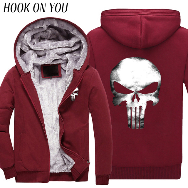 2017 Hot Movie The Punisher Skull Men Winter Thicken Hoodies Print Fleece Dark Souls Coat Casual Cool Sweatshirts