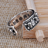 Open Size S925 Solid Silver Skull Skeleton Rings For Women Jewelry 100 Real 925 Sterling Silver