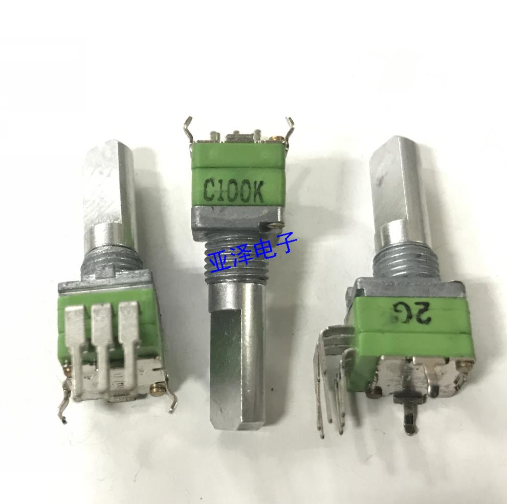 2PCS/LOT Taiwan ALPHA Alfa R09 type precision potentiometer, double C100K logarithmic step, handle shaft length 15MM 148 type double potentiometer b50k handle length 10mm