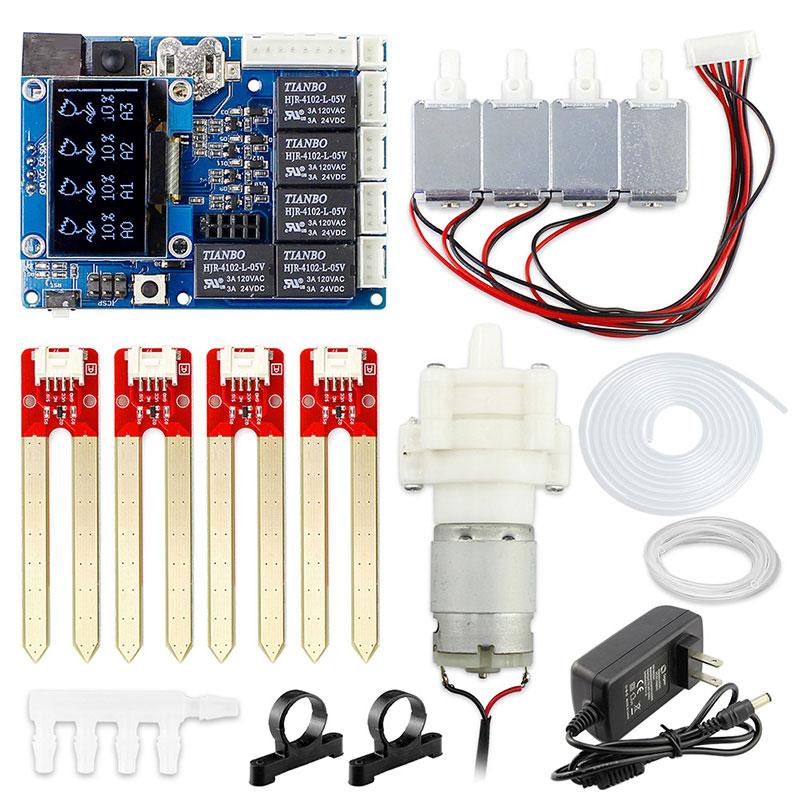 Elecrow Nouvelle Version Automatique Intelligent Arrosage Des Plantes Kit pour Arduino Électronique DIY Pompe À Eau Kit Sol Capteur D'humidité Module Kit