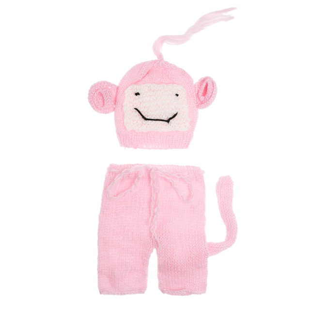 cartoon monkey newborn photography props baby crochet knit short pant monkey shape hat costume kids