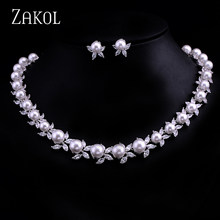 ZAKOL White Color Women Luxury Zircon Imitation Pearl Bridal Choker Necklaces Earring Jewelry Set for Wedding FSSP030(China)