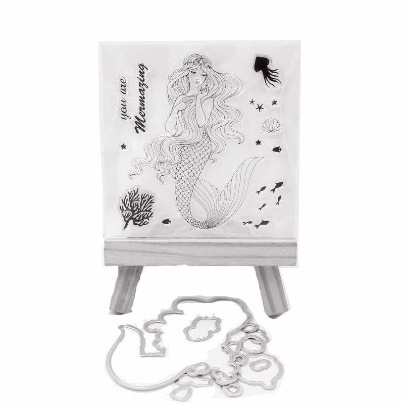 KLJUYP Mermaid Transparent Stamp Cutting Dies for DIY Scrapbooking/Card Making/Kids Fun Decoration SuppliesKLJUYP Mermaid Transparent Stamp Cutting Dies for DIY Scrapbooking/Card Making/Kids Fun Decoration Supplies