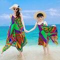 Макс Пляж Платье Семьи Сопоставления Одежда Девушки Платья Лето 2016 Мать Дочь Платья