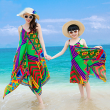 Max Beach Dress Family Matching Clothes Girls Dresses Summer 2016 Mother Daughter Dresses