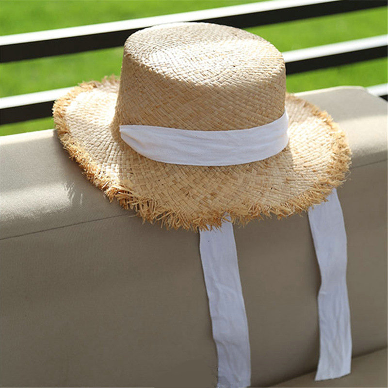 a20c60f3b1dc5 100% Handmade Weave Raffia Sun Hat For Women White Ribbon Lace Up Large  Brim Straw Hat Outdoor Beach Summer Caps Chapeu Feminino
