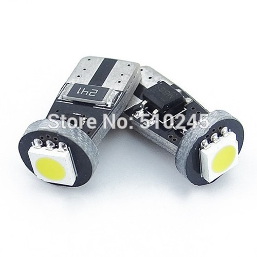 50X Canbus T10 1 smd 5050 LED auto lamp car Light Canbus W5W 194 5050 SMD Error Free White Light Bulbs
