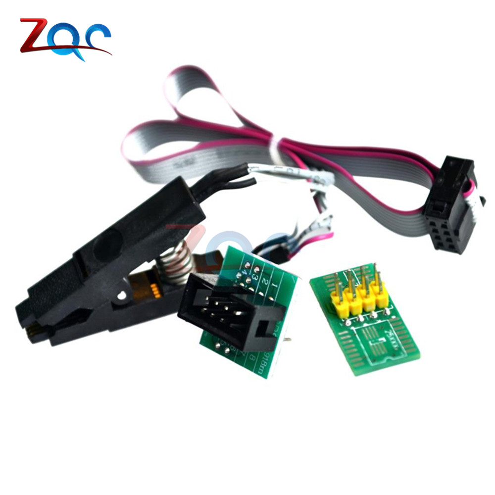 SOIC8 SOP8 Test Flash Clips IC Socket Adpter BIOS/24/25/93 For EEPROM 93CXX / 25CXX / 24CXX in-circuit Programmer 2 adapters new superpo 5 000 dedicated ic adapters cx3013 test writers