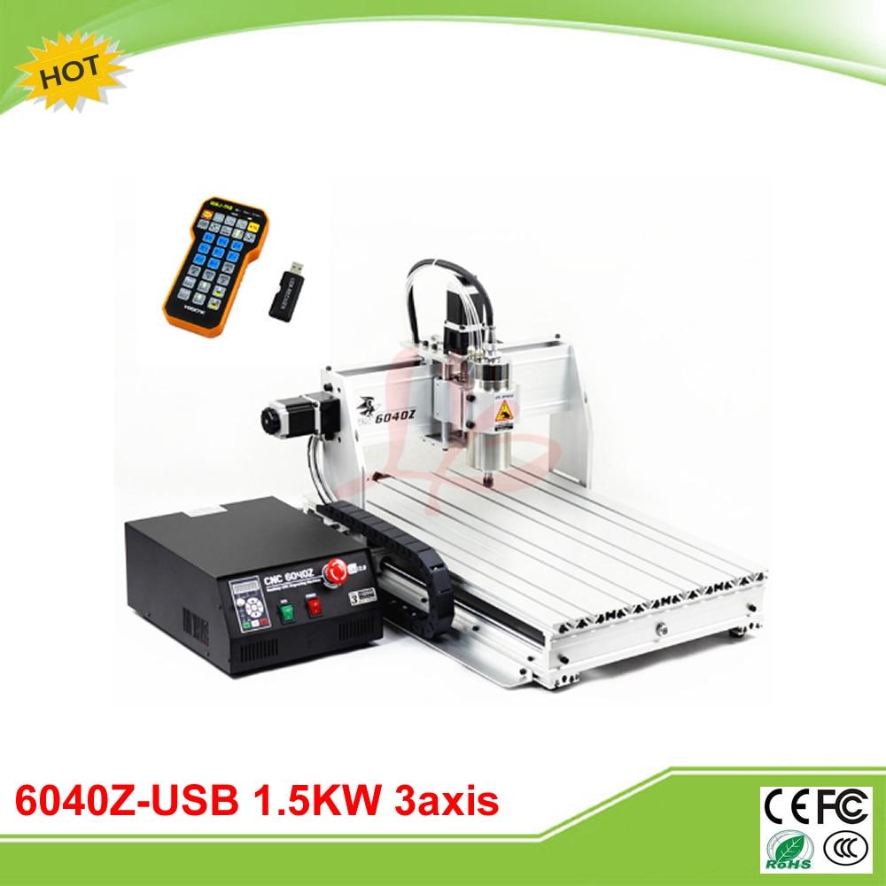 Duty free to RU 6040Z-USB 3 axis CNC milling machine 1.5KW with mach3  remote control