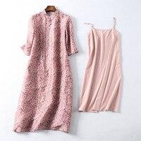 2018 Spring Summer Silk Linen Floral Print Vintage Ethnic Chinese Elegant Pink Women Dress Designer Pearl Vestidos High Quality
