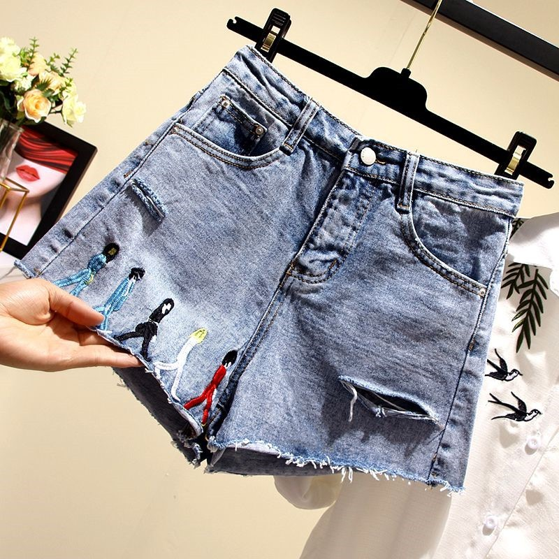 54eaa384785b Las mujeres Jeans verano nueva moda gorda hermana madre Mujer Plus tamaño  pantalones cortos de ...