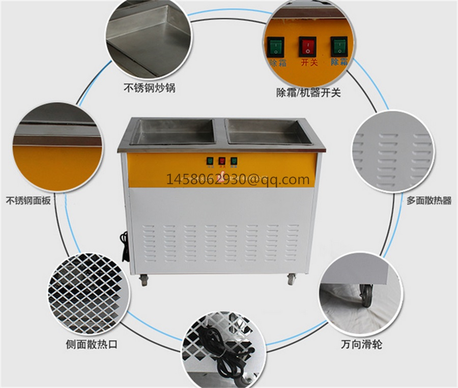 commercial Double Flat Pan Fried Ice Cream Machine,Cheap Ice Pan,Flat Pan Fried Ice Cream Machine 2016 newest led lighting double pan 6cooling buckets fried ice cream roll machine fried ice pan machine r22 frying ice machine