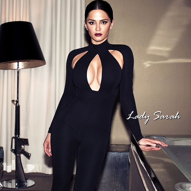 a93ce6be1768 Woman Tight Bodysuit Sexy Overalls Night Club Rompers Party Playsuit  Bodycon Jumpsuit Macacao long Sleeve Jumpsuit Gray Black