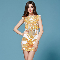 Vintage Dress Women 2016 Summer European Sophisticated Fashion Runway Abstract Dragon Print Above Knee Gold Casual