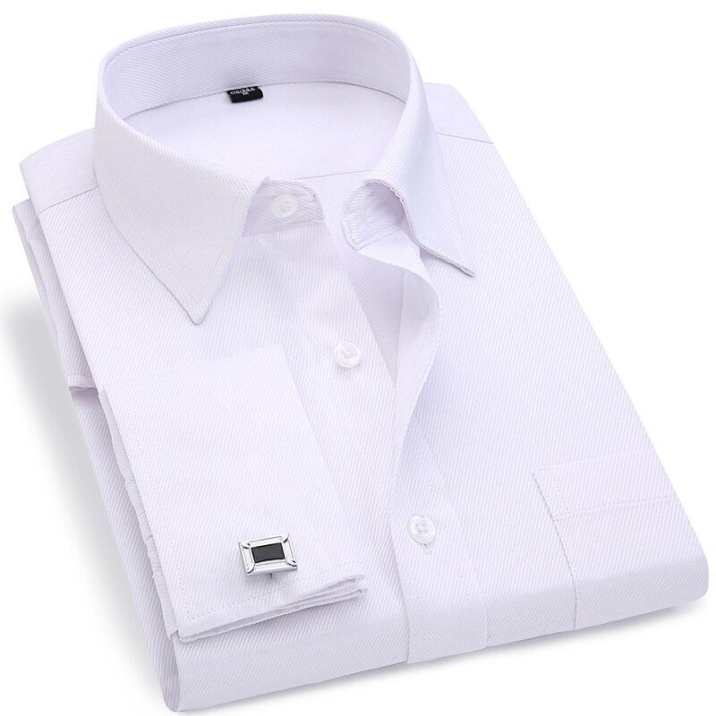a8b478073a398c Mannen Franse Manchetknopen Overhemd 2019 Nieuwe mannen Stripes Shirt Lange  Mouw Casual Man Merk Shirts Slim Fit Franse Manchet jurk Shirts