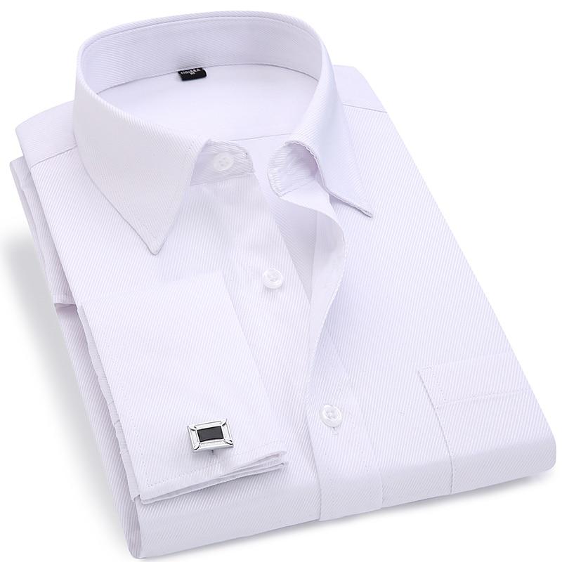 Erkekler Fransız Kol Düğmeleri Gömlek 2019 Yeni erkek Çizgili Gömlek Uzun Kollu Rahat Erkek Marka Gömlek Slim Fit Fransız Manşet Elbise Gömlek