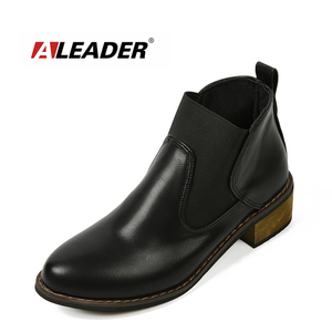 Aleader New Autumn Sales Fashion Chelsea Boots Women Real Leather Casual Ankle Boots Martins Fall Flats For Ladies Mujer Women