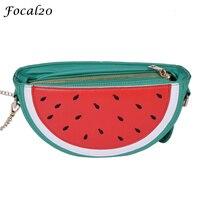 Focal20 Dễ Thương Fruit Design Túi Messenger Dưa Hấu Chanh Shape Túi Xách Da PU Chuỗi Nhỏ Túi Xách cho Phụ N