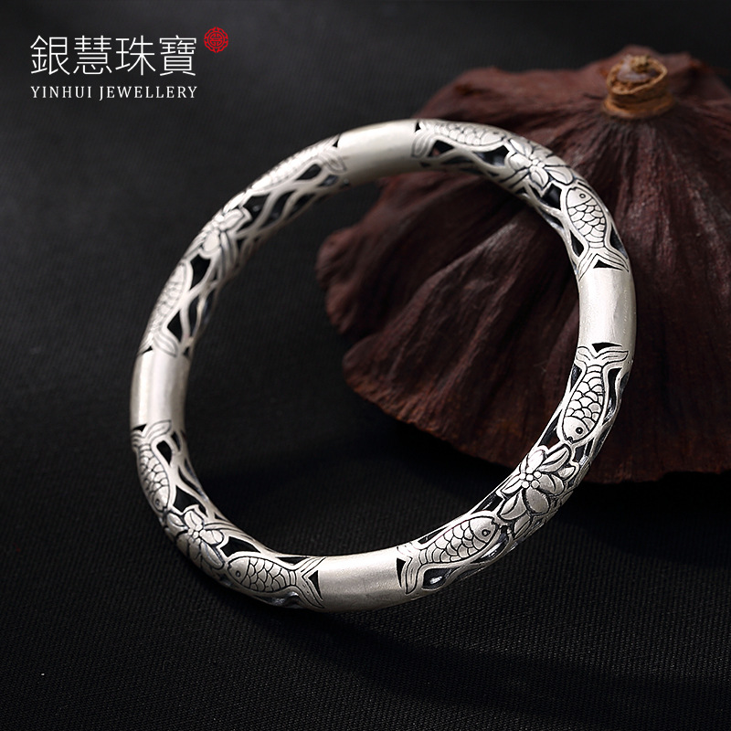 Fine Silver Lotus Edition Pisces Play Lady Bracelet Wholesale Opening Hollow Out Antique Silver Detonation Model s999 fine silver lotus pisces play lady bracelet wholesale sterling silver folk style ways openings