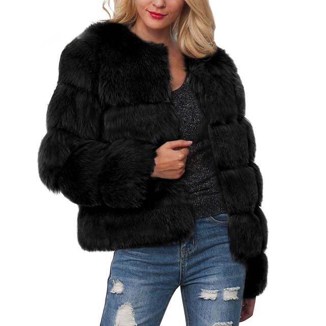 d3fa019b880 placeholder Winter Warm Vintage Fluffy Faux Fur Coat Women Short Furry Fake  Fur Outerwear Pink Black Coat