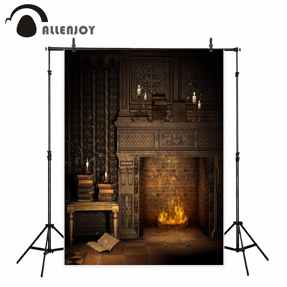 Allenjoy photography backdrop fireplace Candle books flame European style vintage background for photo studio camera fotografica allenjoy photography backdrop library books student child newborn photo studio photocall background original design