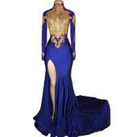Gorgeous Wysoka Neck Syrenka Suknia Złota Koronka Aplikacje Wieczorne Party suknia Długie Rękawy Evening Dress vestido de festa