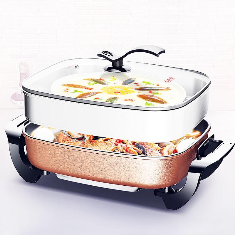 Multi-function Aluminum Alloy Electric Pot Home Hot Pot Non-stick Coating Multi Cooker 3 Gear Firepower with Lid 7.5L 1500W j35 multi function aluminum alloy 2 layer cooker household non stick electric hot pot maifan stone 12l 1900w with bamboo steamer
