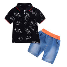 Toddler Kids Boy Set Summer Fashion Kids Outfit For Boy Print Short Sleeve Clothes + Short Pants 2pcs Cildren Clothes Set(China)