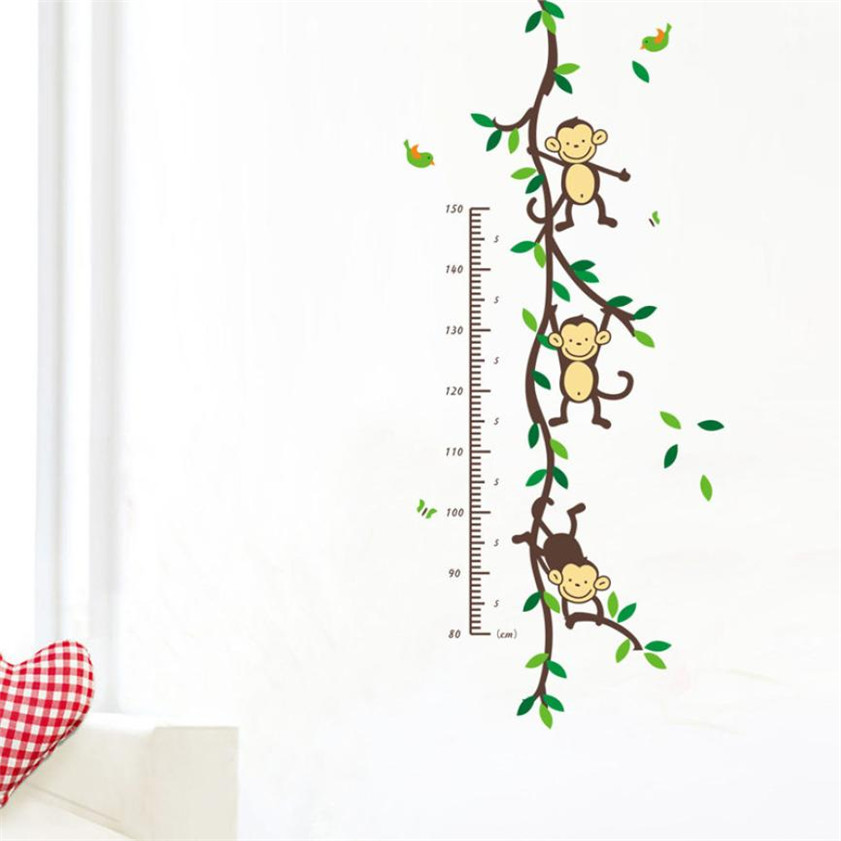 Wallpaper Sticker HOT Wall Decal Monkey Forest Home Vinyl Kids Height Chart Measure Wallpapers For Living Room 2018 B#
