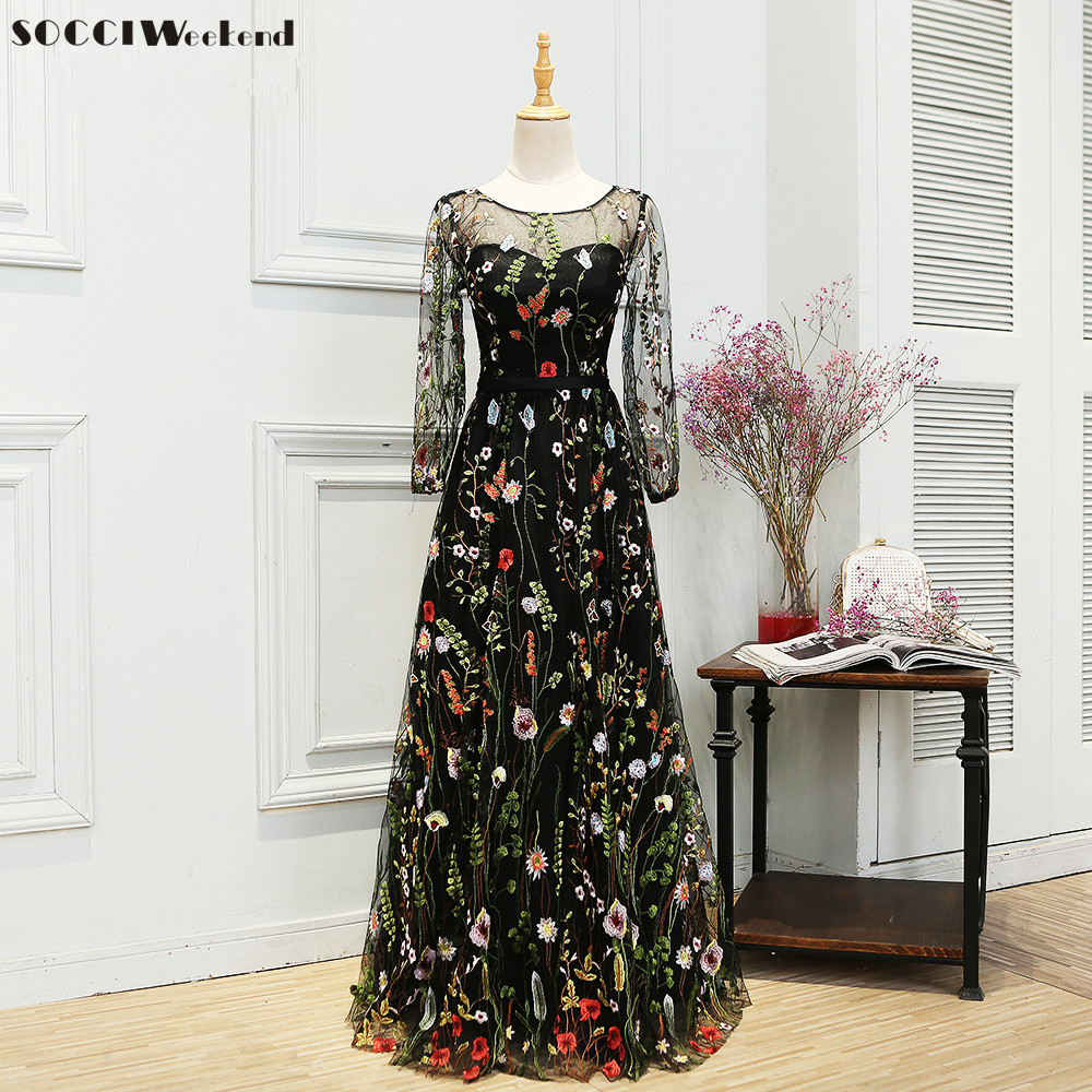 SOCCI Weekend 2017 Evening Dresses Embroidery Flower Long Sleeves Black Women abendkleider Formal Wedding Party Dress Prom Gowns
