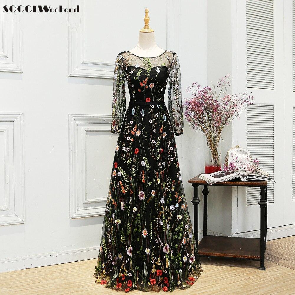 SOCCI Weekend Elegant   Evening     Dress   Embroidery Flower Long Sleeves Black Women abendkleid Formal Wedding Party   Dresses   Prom Gown