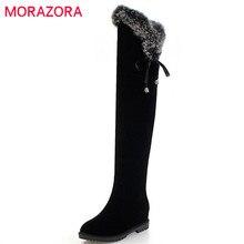 MORAZORA 2020 büyük boy 34 45 sıcak tutmak uzun çizmeler kadın uyluk yüksek diz üzerinde çizmeler yuvarlak ayak sonbahar kış ayakkabı kadın