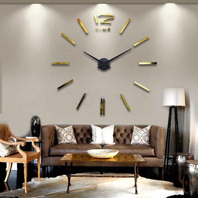 Diy Wall Clock Modern Design Large Clocks Art Decor Cool Drawing Golden Stickers Watch
