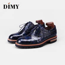 DIMY 2019 mens shoes Oxford new crocodile British business breathable comfortable leather