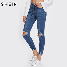 SHEIN Mid Waist Casual Jeans Woman Blue Jeans Button Fly for Women Zipper Fly Pearl Beading Destroyed Cut Hem Skinny Jeans
