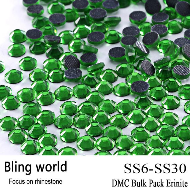 La Artesanía de Salida de Calidad Superior De Cristal Redondo Erinite DMC Hotfix Adorno Del Rhinestone Tamaño SS6 SS10 SS16 SS20 SS30