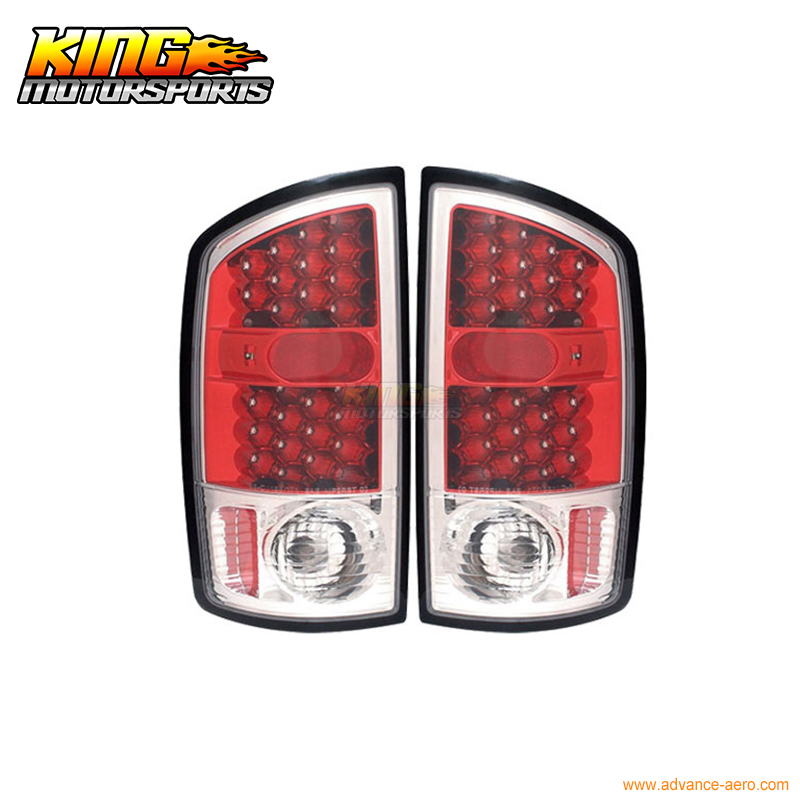 Fits 2002-2006 Dodge Ram 1500 2500 3500 LED Tail Lights Red Housing Clear Lens USA Domestic Free Shipping