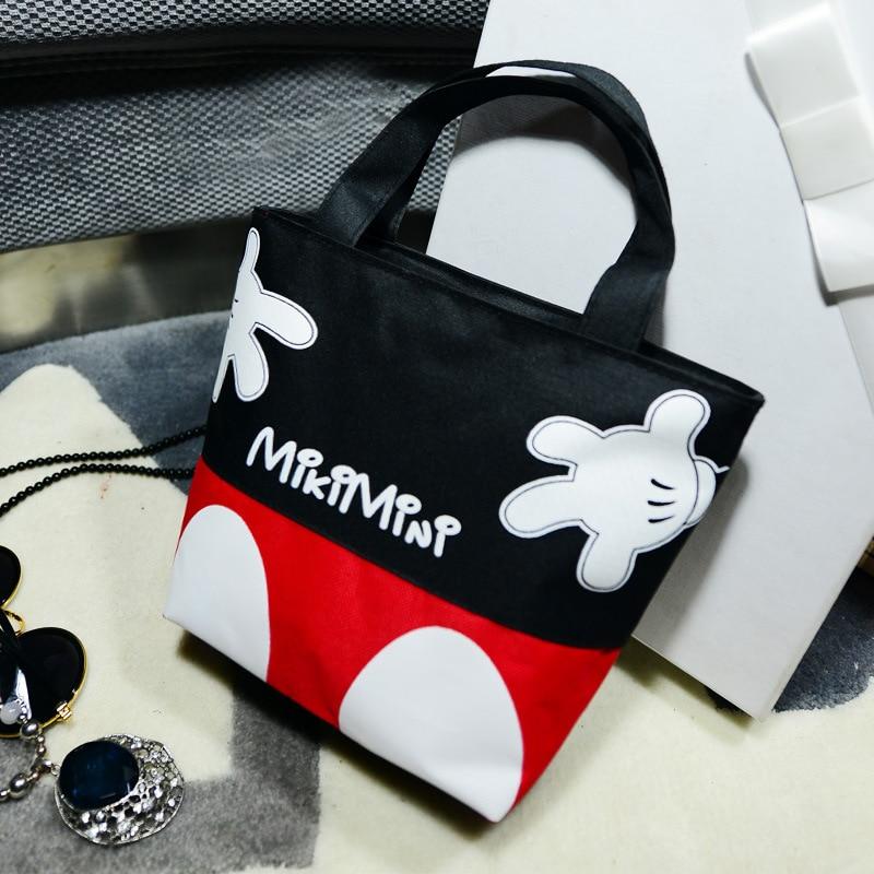 2019 New Disney Fashion Trend Handbags Casual Small Bag Mickey Mouse Portable Canvas Bag Handcuffs Bag Lunch Box Bag