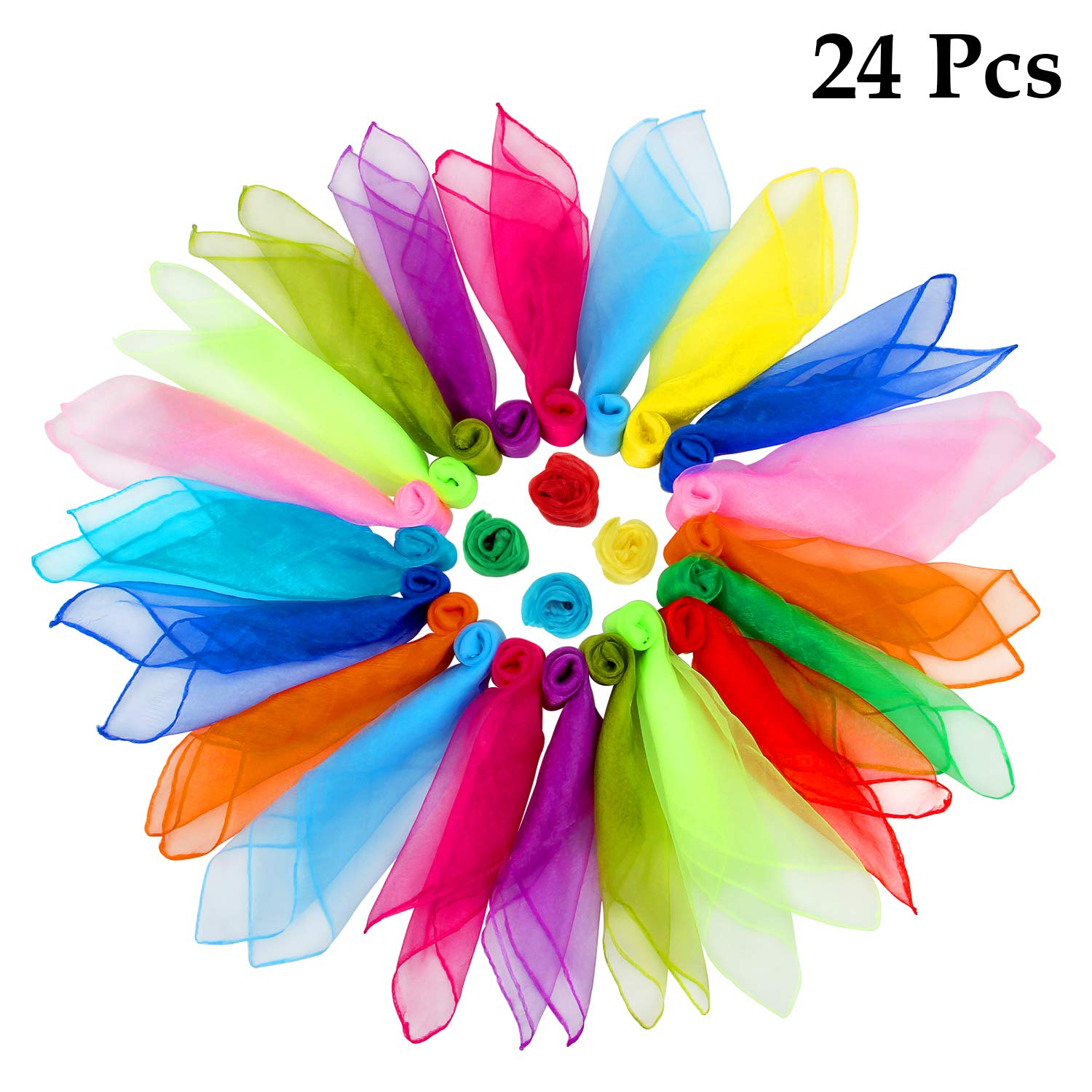24 Pcs Square Dance Scarves, Juggling Scarf Props Magic Trick Silk Scarves Music Movement Scarf 12 Colors 24 by 24 Inches